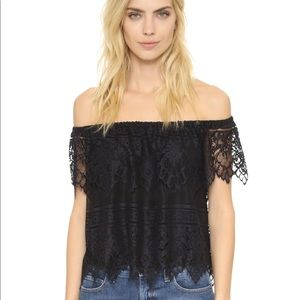 Cupcakes & Cashmere off the shoulder top